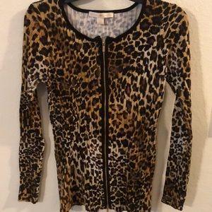 Animal print zipper sweater